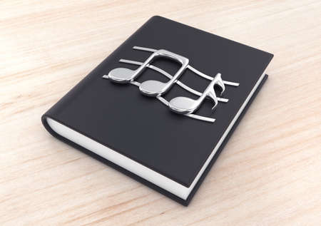 textbook: 3d illustration silver musical notes on a  black  textbook