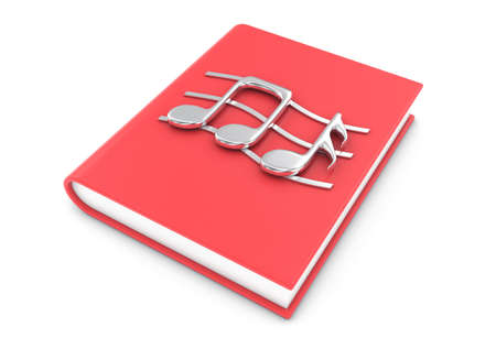 writing instrument: 3d illustration silver musical notes on a  red textbook