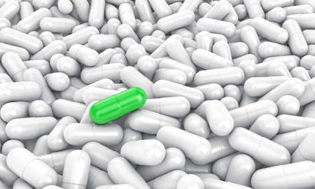 white pills: 3d illustration of a white pills with one especial Stock Photo