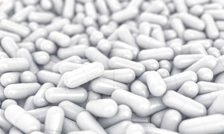 white pills: 3d illustration of a many white medical pills Stock Photo