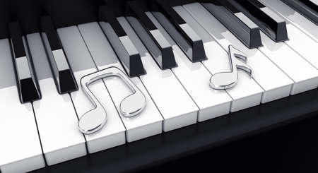 black piano: 3d illustration black piano with silver notes Stock Photo