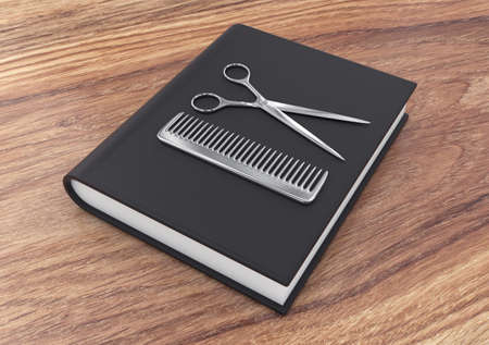 hairstyle: 3d illustration of steel hairdresser tool on a  black  textbook