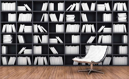bookcase: 3d illustration of a bookcase with a armchair of white colour