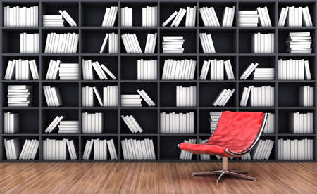 bookcases: 3d illustration of a bookcase with a armchair of red colour Stock Photo