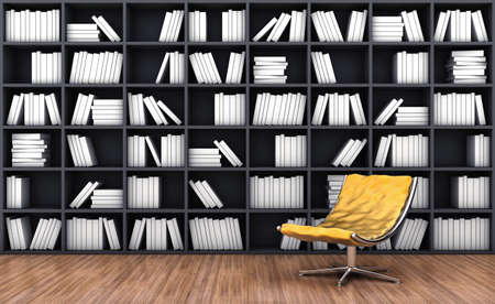 bookcases: 3d illustration of a bookcase with a armchair of orange colour Stock Photo