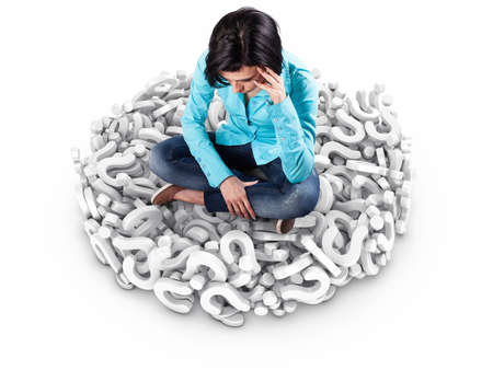 woman headache: 3d illustration of girl sits among many white questions
