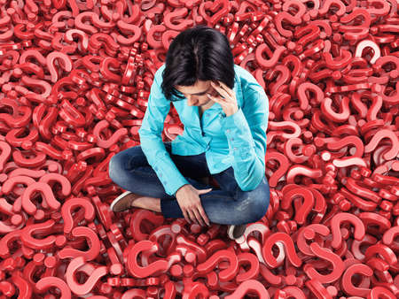 sits: 3d illustration of girl sits among many red questions