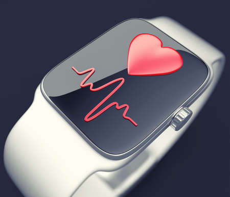 3d illustration of digital smart watch with heart-rate