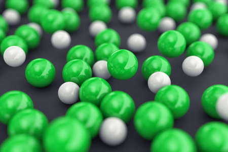 focus: 3d illustration of many white and green balls