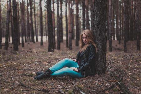 elegant girl: Photo of a beautiful girl, located in the forest