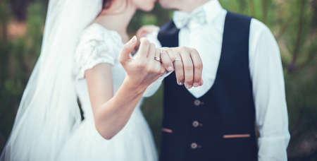 Beautiful gold rings for ceremony on wedding