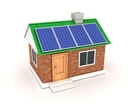 De zonne-batterij op een dak van het eigen huis