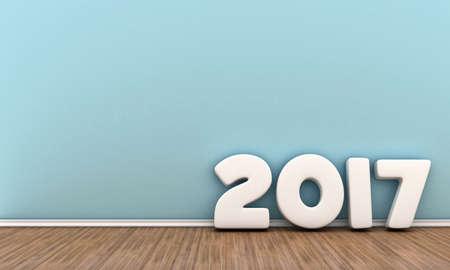 Illustratie van witte cijfers 2017 bij de muur