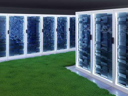 Ruimte met rijen nieuwe krachtige servers