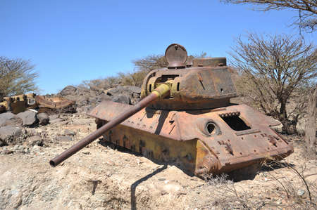 Destroyed tank  in Somalia