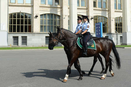 Mounted police patrol Moscow park