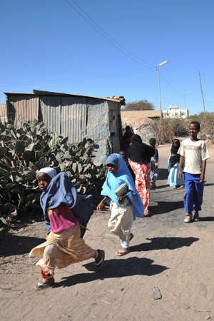 displaced: Camp for African refugees and displaced people on the outskirts of Hargeisa in Somaliland under UN auspices