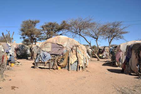 Camp de réfugiés africains et des personnes déplacées à la périphérie de Hargeisa au Somaliland, sous les auspices des Nations Unies