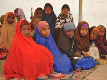 Schoolkamp voor Afrikaanse vluchtelingen aan de rand van Hargeisa Stockfoto - 24583374