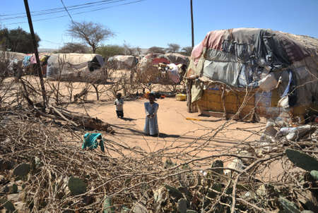 Camp for African refugees and displaced people on the outskirts of Hargeisa in Somaliland under UN auspices  photo