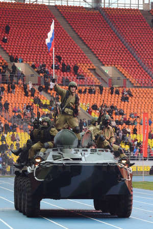 demonstrate: Special forces demonstrate training at stadium