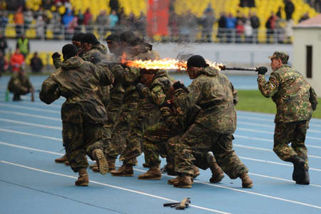 special forces: Special forces demonstrate training at stadium