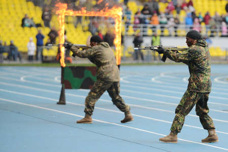 forces: Special forces demonstrate training. Editorial