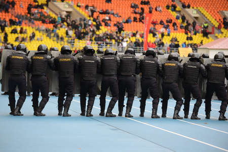 sanctioned: Police at the stadium. Editorial