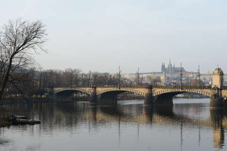 vltava: Prague. Vltava River. Stock Photo