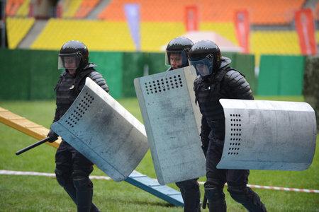 squad: Police at the stadium. Editorial