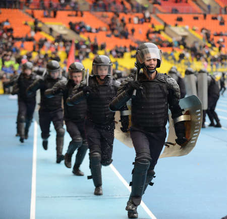 swat teams: Police at the stadium. Editorial