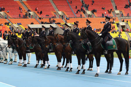 patrol: Mounted police patrol at the Moscow stadium