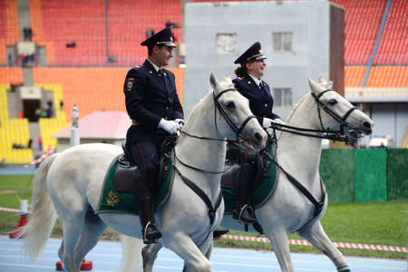 mounted: Mounted police patrol at the Moscow stadium