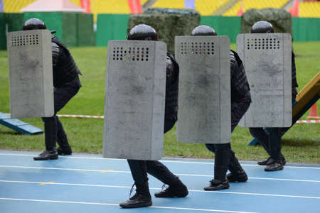 sanctioned: Police at the stadium