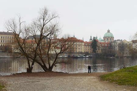 vltava: Prague. Vltava River Stock Photo