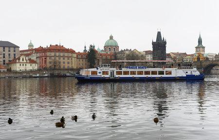 praga: Prague. Vltava River Editorial