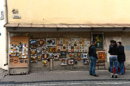 vilnius: Tourists on the streets of Vilnius
