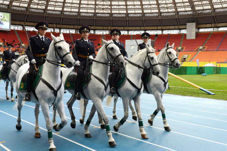 Mounted police patrol at the Moscow stadium.