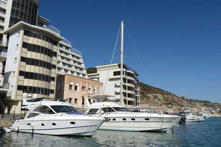 black moor: Yachts and ship at the pier in Balaklava Bay