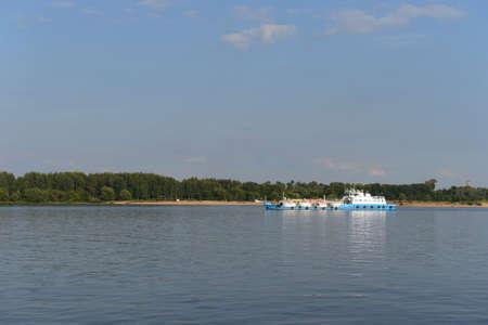 volga: Yaroslavl. Ship sailing along the Volga. Stock Photo