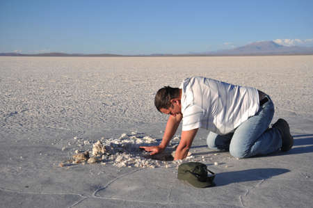 mined: Bolivians mined salt crystals. Editorial