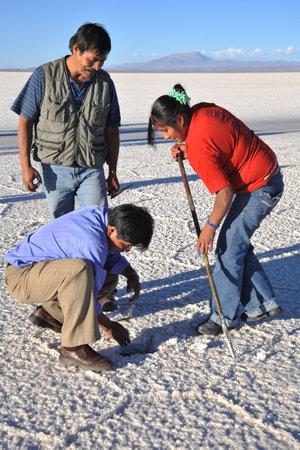 mined: Bolivians mined salt crystals on the Uyuni salt flats
