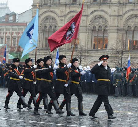 cossack: The cadets of the Moscow Cossack corps on parade on 7 November 2014 at the red square