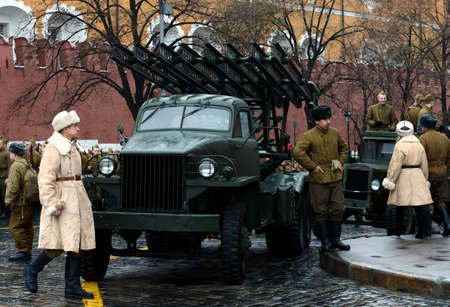 Reactive system of volley fire at the base of the car Studebaker at the parade on Red Square in Moscow.