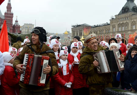 Festivities on November 7 at the red square in Moscow.