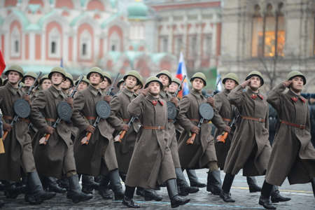Russian soldiers in the form of the Great Patriotic War at the parade on Red Square in Moscow. Editorial