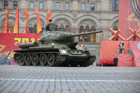 t34: T34 tank on paradereconstruction on Red Square in Moscow.