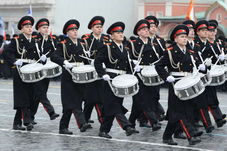 upbringing: The cadets of the Moscow military music College at the parade on Red Square in Moscow.