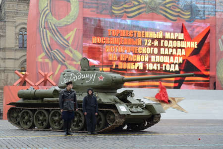 t34: T-34 tank on parade-reconstruction on Red Square in Moscow. Editorial