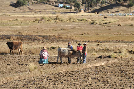 bolivian: Bolivian village on the shores of lake Titicaca